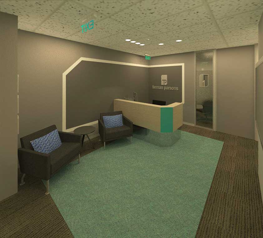 Render of Tiernan Parson's new reception area